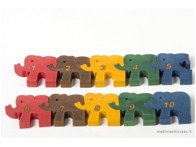 Dėlionė skaičiukai drambliukai 3