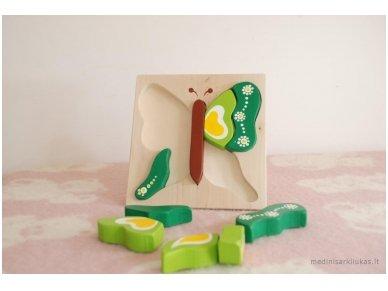 Dėlionė drugelis Žalias 3