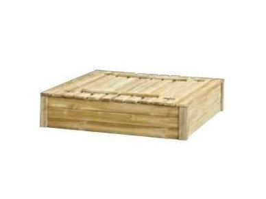 Medinė smėlio dėžė su dangčiu 1,5 x 1,5 m 3