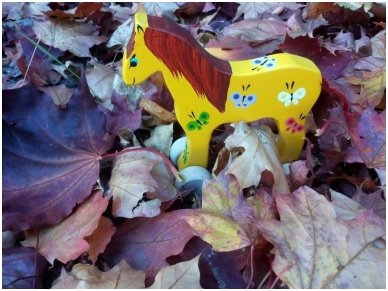 Arkliukas su ratukais geltonas su drugeliais 2