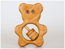 Organic wooden rattle teether 'Teddy bear'