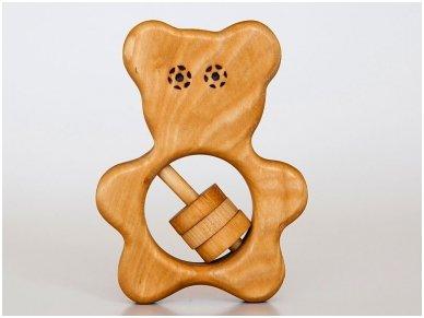 Organic wooden rattle teether 'Teddy bear'