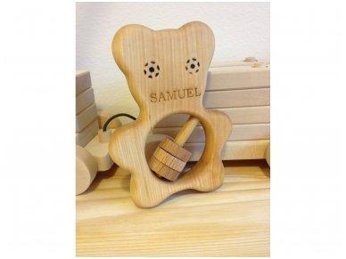 Organic wooden rattle teether 'Teddy bear' 4