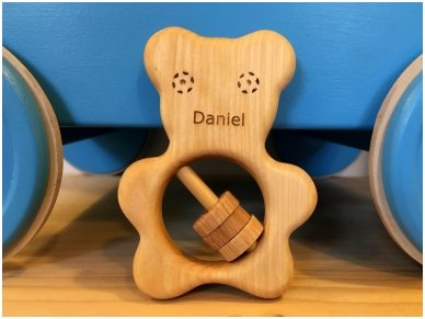 Organic wooden rattle teether 'Teddy bear' 5
