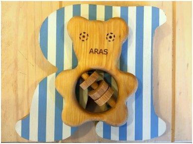 Organic wooden rattle teether 'Teddy bear' 6