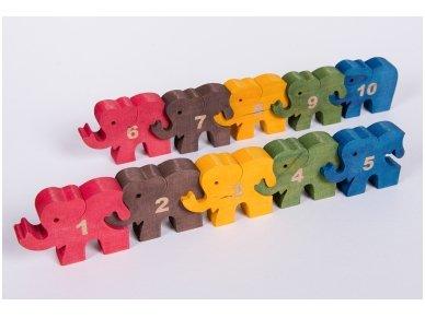 Dėlionė skaičiukai drambliukai