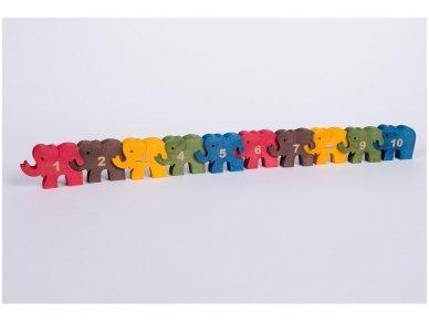 Dėlionė skaičiukai drambliukai 2