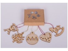 Wooden christmas decoration set