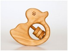 Organic wooden rattle teether 'Duckling'