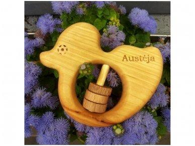 Organic wooden rattle teether 'Duckling' 9
