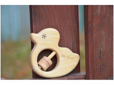 Organic wooden rattle teether 'Duckling' 7