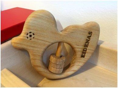Organic wooden rattle teether 'Duckling' 13