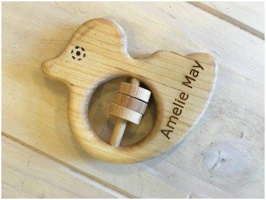 Organic wooden rattle teether 'Duckling' 14