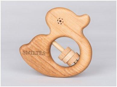 Organic wooden rattle teether 'Duckling' 4