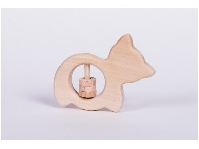 Organic wooden rattle teether 'Cat' 3