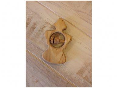 Organic wooden rattle teether 'Angel' 5