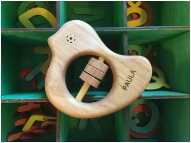 Organic wooden rattle teether 'Bird' 6