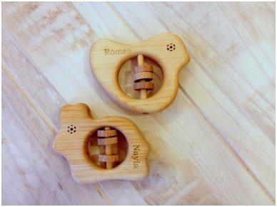 Organic wooden rattle teether 'Bird' 9