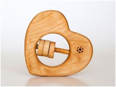 Organic wooden rattle teether 'Heart'