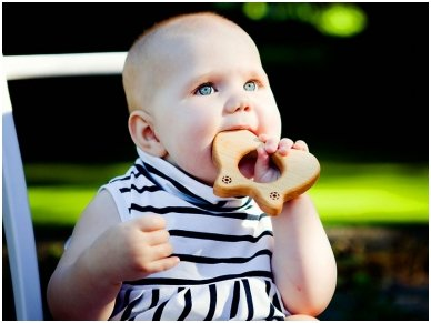 Organic wooden teether 'Butterfly' 3