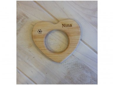 Organic wooden teether Heart 10