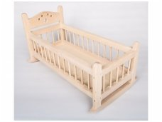 Wooden rocking bed for dolls