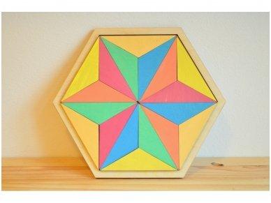 Loginis žaidimas šešiakampė tangrama 6