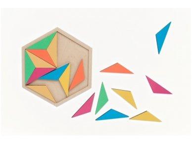 Loginis žaidimas šešiakampė tangrama 2