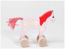 Mažas arkliukas su ratukais Rausvas