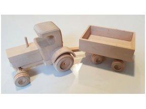 Mažas traktoriukas su priekaba