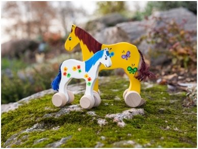 Mažas arkliukas su ratukais geltonas su drugeliais 5