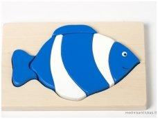 Medinė dėlionė mėlyna žuvytė