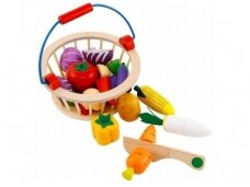 Daržovių pjaustymo rinkinys krepšelyje