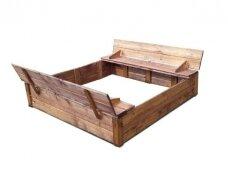Medinė smėlio dėžė su dangčiu 1,5 x 1,5 m