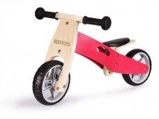 Medinis rožinis balansinis dviratukas-triratukas