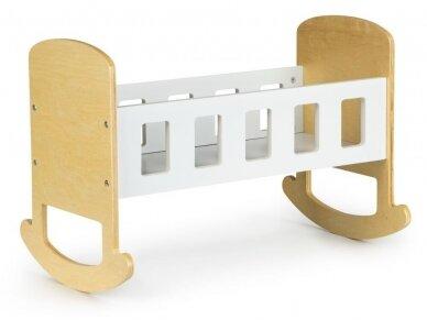 Balta medinė lėlių lovytė 2