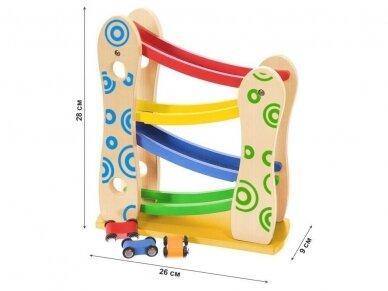 Medinė lenktynių rampa su automobiliukais 5
