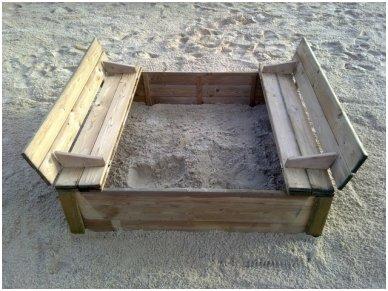 Smėlio dėžė su dangčiu 1,2 x 1,2 m 4