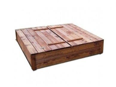 Medinė smėlio dėžė su dangčiu 1,5 x 1,5 m 2