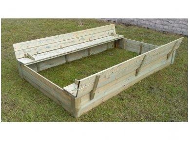 Medinė smėlio dėžė su dangčiu 1,5 x 2,5 m 2