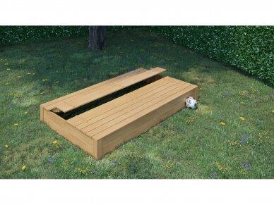 Medinė smėlio dėžė su dangčiu 1,5 x 2,5 m