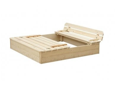Medinė smėlio dėžė su dangčiu