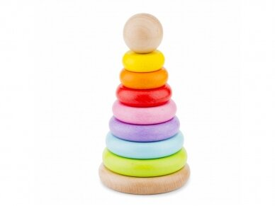 Medinė spalvota piramidė