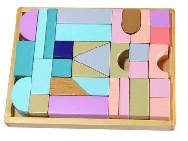 Medinės spalvotos kaladėlės