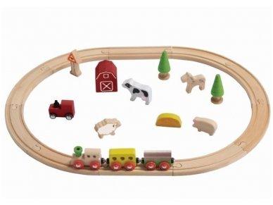 """Medinio traukinuko rinkinys """"Ferma"""""""