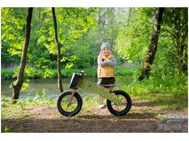 "Wooden balance bike ""Green bears"" 6"