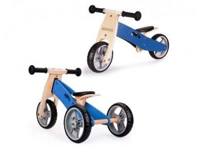 Medinis mėlynas balansinis dviratukas - triratukas
