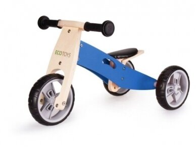 Medinis mėlynas balansinis dviratukas - triratukas 2