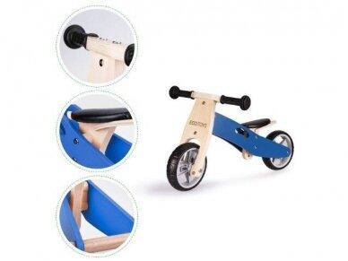 Medinis mėlynas balansinis dviratukas - triratukas 3