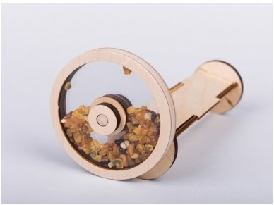Wooden kaleidoscope with amber